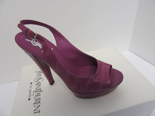 Saint Laurent Ysl Yves Tribtoos Slingbacks Purple Pumps