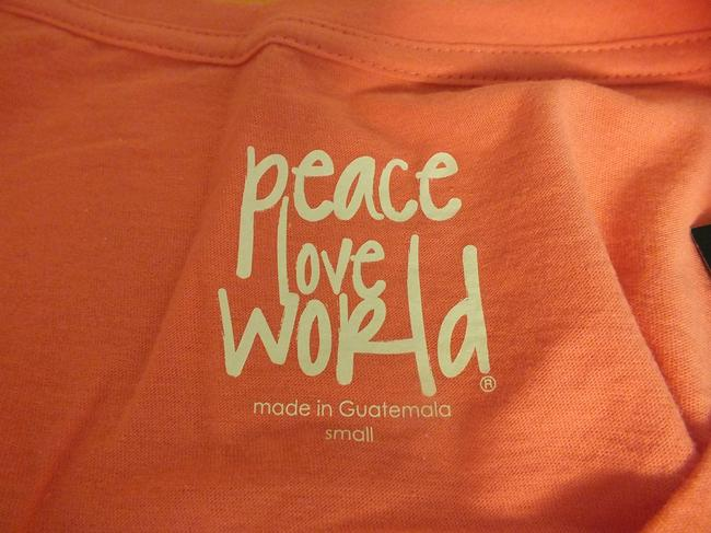 Peace Love World T Shirt Orange/Pink