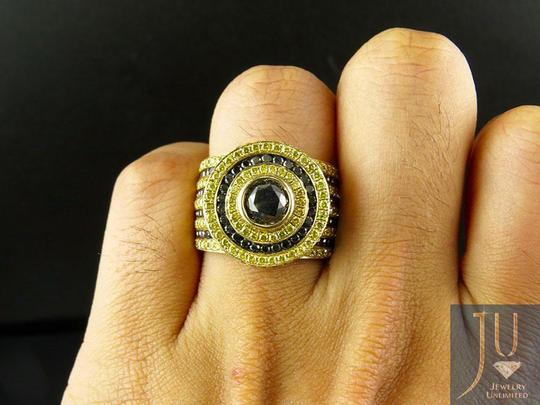 Other Mens XL Canary Yellow Black Solitaire Diamond Pinky Ring 8.40 Ct