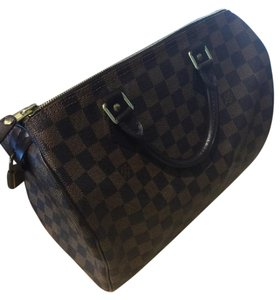 Louis Vuitton Speedy Ebene Damier Bandouliere Satchel in Brown check