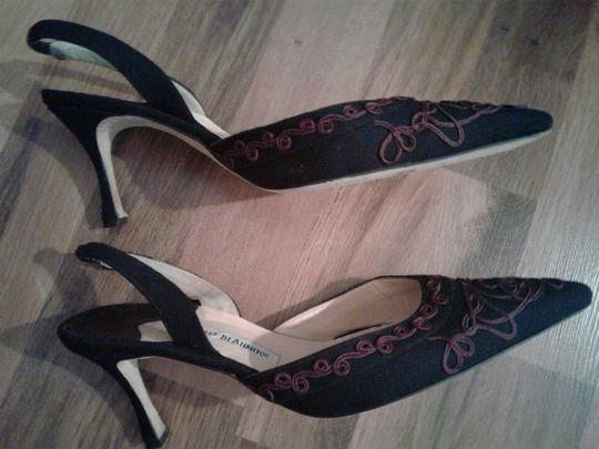 Manolo Blahnik Decorative black & red/purple Pumps