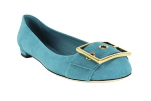 Gucci Gold Hardware Slip On Suede Blue Flats