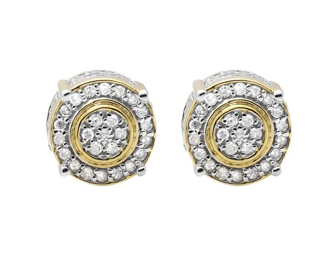 Jewelry Unlimited 10k Yellow Gold 9mm Three Dimension Flower Halo Diamond Stud 0.75ct Earrings Jewelry Unlimited 10k Yellow Gold 9mm Three Dimension Flower Halo Diamond Stud 0.75ct Earrings Image 1