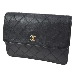 Chanel Vintage Gold Hardware Quilted Leather Luxury black Clutch