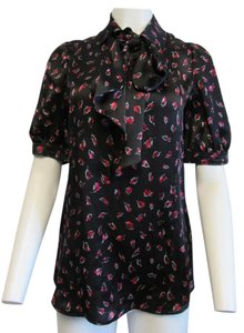 Saint Laurent Silk Tie Floral Print Top Black