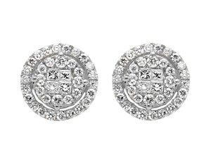 Other 11MM Halo Princess Invisible Quad Diamond Stud Earring 1.50ct