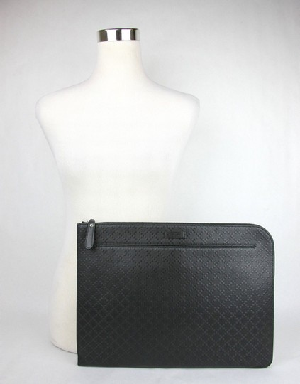 Gucci Gucci Black Leather Hilary Lux Diamante Portfolio Case 368564 1000