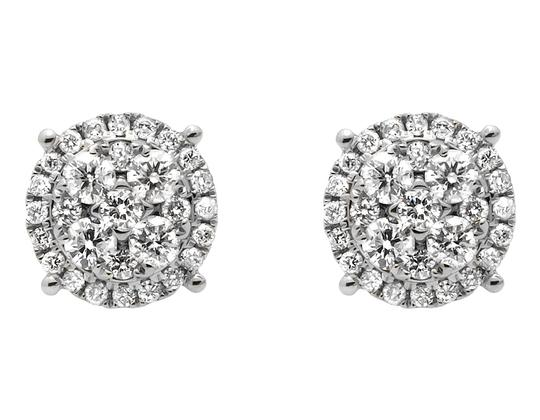Other 9MM Halo Flower-Shaped Quad Genuine Diamond Stud Earring 2.0ct