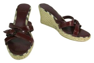 Burberry Red Leather Nova Wedge Sandals