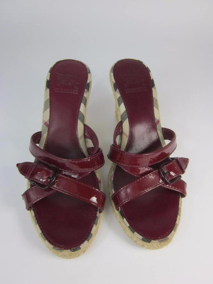 Burberry Red Leather & Nova Check Sz: 6.5 M Wedges ...