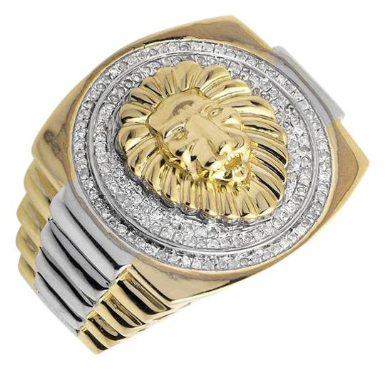 Preload https://item4.tradesy.com/images/10k-yellow-gold-lion-head-22mm-wide-step-shank-diamond-statement-12ct-ring-21259713-0-1.jpg?width=440&height=440