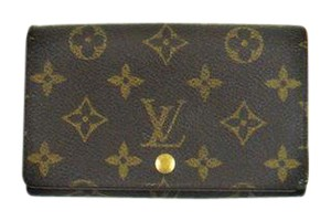 Louis Vuitton Porte Monnaie Tresor Monogram Canvas Leather Compact Clutch Wallet
