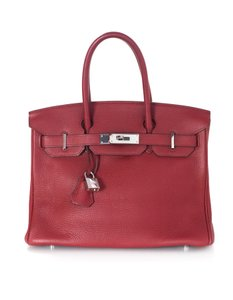 Hermès Birkin Clemence Palladium Small Tote in Red