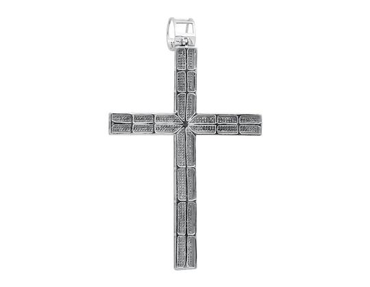 Other Multi Row Diamond Traditional Cross 4.5 Inch Pendant Charm 3.0ct.