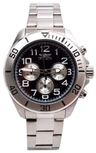 Invicta Mens Pro Diver Japanese VD54 Black Dial Stainless Steel Bracelet Watch