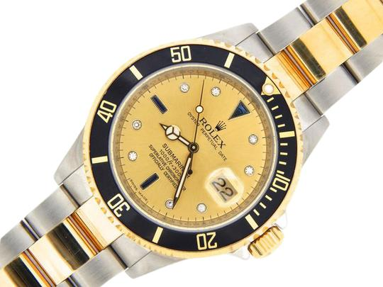 Preload https://img-static.tradesy.com/item/21259831/rolex-gold-mens-two-tone-18kss-submariner-champagne-diamond-black-16613t-watch-0-1-540-540.jpg