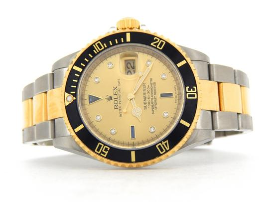 Rolex Mens Rolex Two-Tone 18K/SS Submariner Champagne Diamond Black 16613T