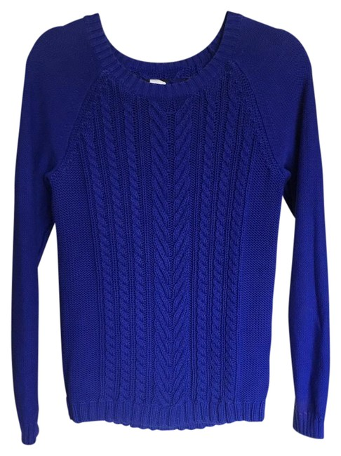 Preload https://item4.tradesy.com/images/jcrew-cobalt-blue-cotton-cable-sweaterpullover-size-8-m-21259833-0-1.jpg?width=400&height=650