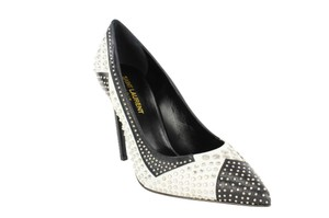 Saint Laurent Studded Pointed Toe High Heels Leather Women White Pumps