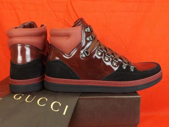 Gucci Black/Burgundy Mens Softy Contrast Combo Logo Hi Top Sneakers 8.5 9.5 Shoes