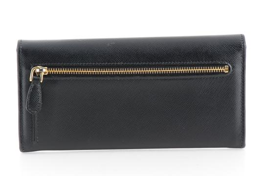 Prada Prada Black Saffiano Leather Continental Flap Wallet
