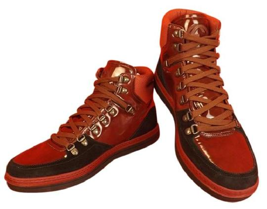 Gucci Black/Burgundy Mens Softy Tek Contrast Combo Logo Hi Top Sneakers 8 9 Shoes