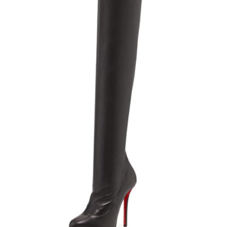 0a8563ce898 Christian Louboutin Black Sempre Monica 100 Leather Over-the-knee  Boots/Booties Size EU 40.5 (Approx. US 10.5) Regular (M, B) 54% off retail