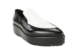 Prada Pointed Toe Loafers Slip On Leather Women Black Platforms
