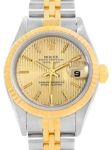 Rolex Rolex Datejust Steel 18K Yellow Gold Tapestry Dial Ladies Watch 69173