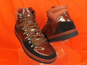 Gucci Black/Burgundy Mens Softy Tek Contrast Combo Logo Hi Top Sneaker 9 10 Shoes