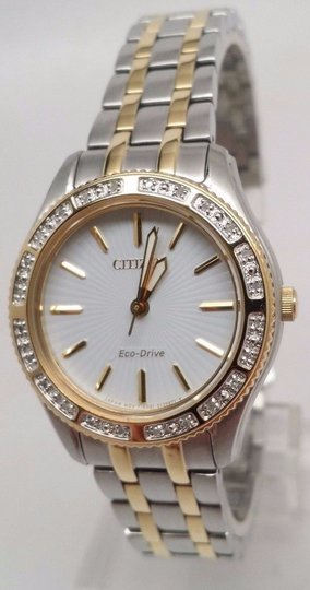 Citizen Eco-Drive Ladies Carina Diamond Dress Watch EM0244-55A 3 Links Missing