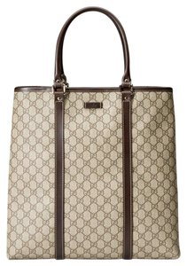 Gucci Brown/beige Canvas Business Tote in Beige/ebony