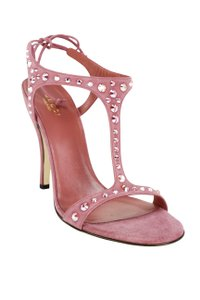 Gucci Open Toe Suede Studded Embellished Ankle Tie Pink Pumps