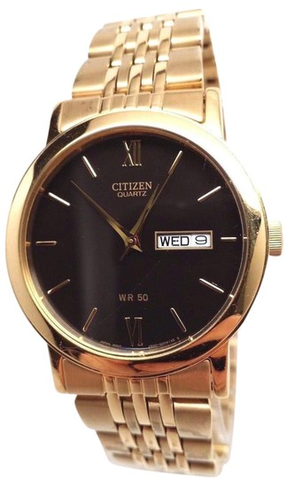 Preload https://item2.tradesy.com/images/citizen-bk4052-59e-quartz-day-date-gold-tone-black-dial-men-s-watch-21260141-0-1.jpg?width=440&height=440
