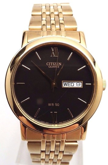 Citizen BK4052-59E Quartz Day Date Gold Tone Black Dial Men's Watch