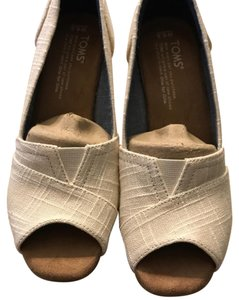 TOMS natural linen Wedges