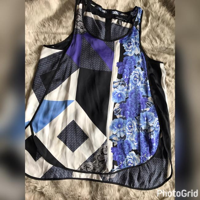 Kenneth Cole Top black, blue print