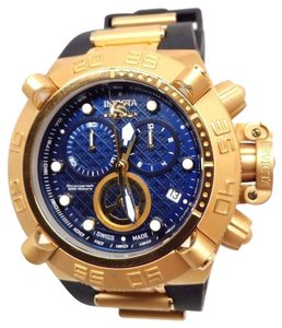 Mens Inv icta 16145 Subaqua Swiss Chronograph Gold Blue Dial Swiss Watch