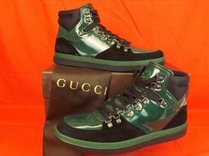 Gucci Black/Green Mens Softy Tek Contrast Combo Logo Hi Top Sneaker 9.5 10.5 Shoes