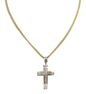 Other 28 inches long 10 K Fine Yellow Gold Franco Chain with Cross Pendant