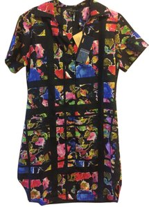 Alberto Makali short dress Black Button Up Shirt Scalloped Abstract Floral on Tradesy