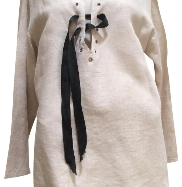 Preload https://item2.tradesy.com/images/natural-linen-w-black-ribbon-blouse-size-os-one-size-21260301-0-1.jpg?width=400&height=650