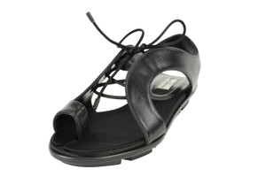 Balenciaga Lace Up Leather Women Black Sandals