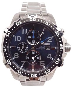 MEN'S SE IKO STAINLESS STEEL SOLAR CHRONOGRAPH BLUE DIAL WATCH SSC305 $395