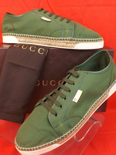 Gucci Green Men's Military Canvas Logo Jute Espadrille Sneaker 14.5 15.5 Shoes