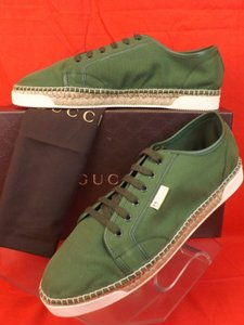 Gucci Green Men's Military Canvas Logo Jute Espadrille Sneaker 11 12 #368487 Shoes