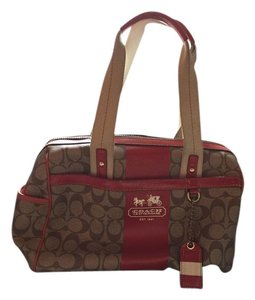 Coach Satchel in Tan and red