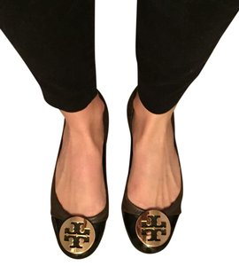 Tory Burch Reva Brown with Gold Logo Flats