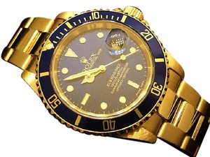 Rolex Mens Rolex 18K Yellow Gold Submariner Blue 16618