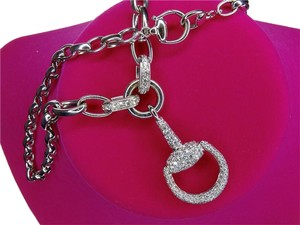 Gucci Gucci 18K White Gold Diamond Horsebit Necklace